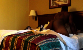 Slender Blonde Has A Black Guy Plowing Her Pussy On The Bed