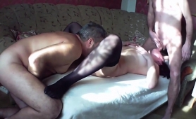 Sexy Mature Wife In Stockings Indulges In A Hot Threesome