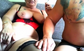 Lustful Amateur Granny In Stockings Gets Drilled On Webcam