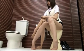 Slender Asian Girl In Pantyhose Reveals Her Sexy Long Legs