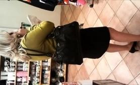 Attractive Amateur Blonde In Black Panties Upskirt In Public