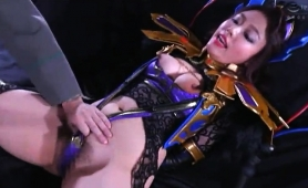 Striking Oriental Babe Gets Her Hairy Peach Toyed And Fucked