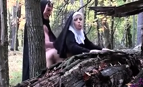 Horny Nun Enjoys An Intense Doggystyle Drilling In The Woods